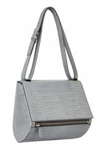 Givenchy Grey Crocodile Pandora Box Medium Bag