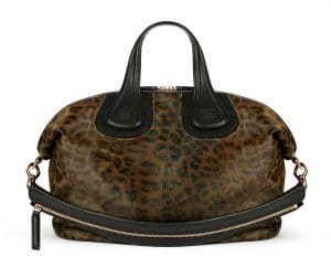 Givenchy Light Kaki Leopard Print on Pony Calf Effect Nightingale Medium Bag