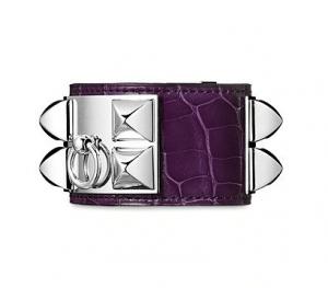 Hermes Amethyst Alligator Collier de Chien Small Bracelet