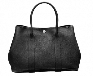 Hermes Black Leather Garden Party Medium Bag