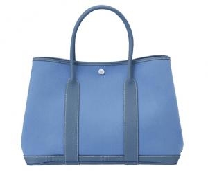 Hermes Blue Canvas Garden Party Medium Bag