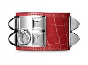 Hermes Bougainvillea Alligator Silver Plated Collier de Chien Large Bracelet