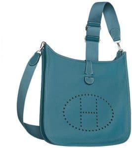 Hermes Denim Blue Evelyne III PM Bag