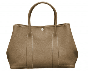 Hermes Etoupe Leather Garden Party Medium Bag