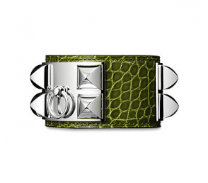 Hermes Green Alligator Collier de Chien Small Bracelet