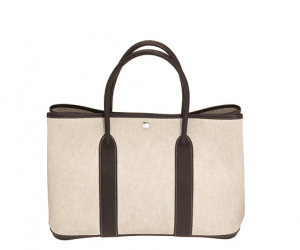 Hermes Natural Linen with Brown Leather Garden Party Medium Bag