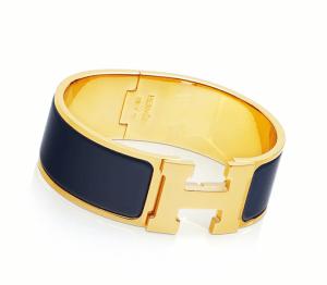 Hermes Navy Blue Clic-Clac H Bracelet