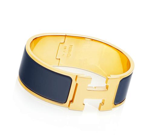 Hermes Navy Blue Clic Clac H Bracelet