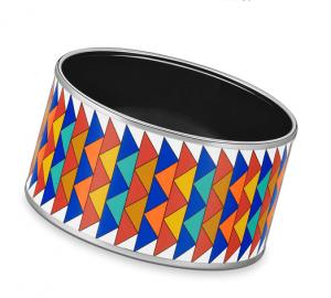 Hermes Rayures Mosaique Extra Wide Enamel Bracelet