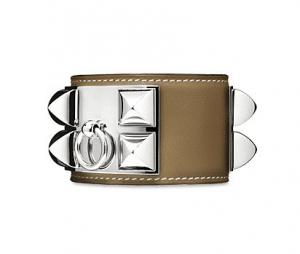 Hermes Taupe Collier de Chien Small Bracelet
