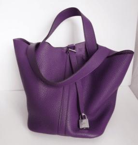 Hermes Violet Picotin Lock MM Bag