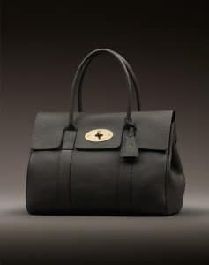 Mulberry Black Grainy Print With Soft Gold Bayswater Bag