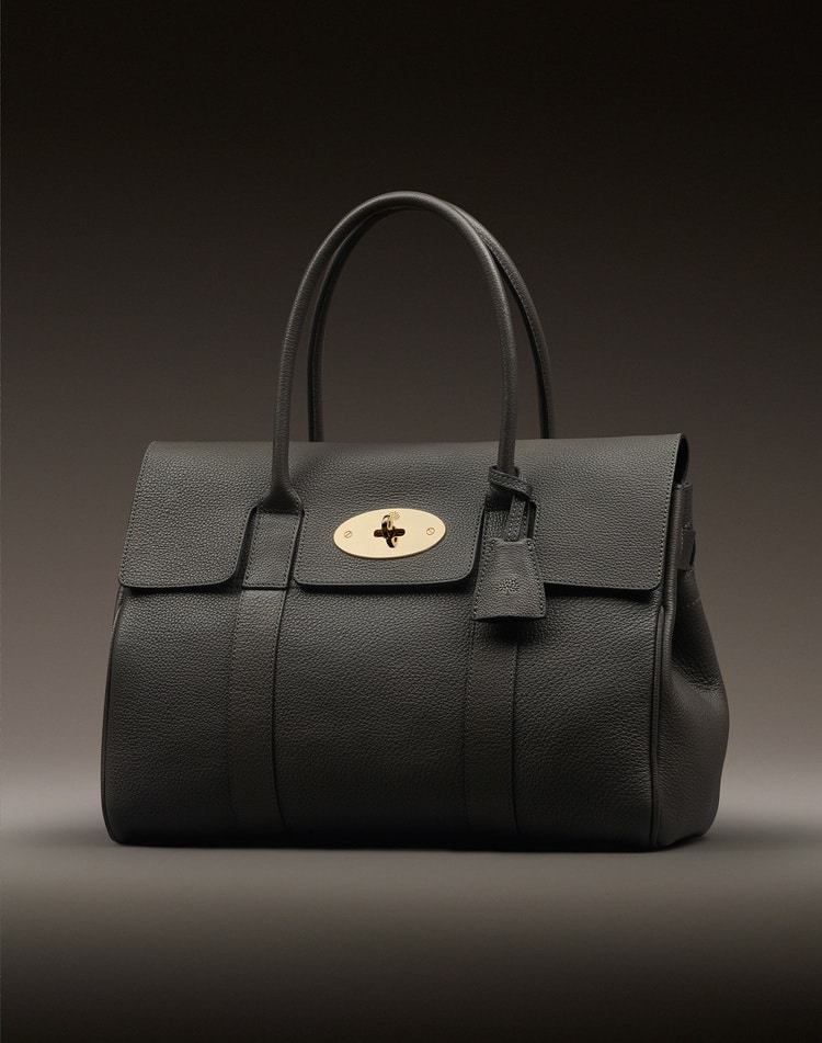 Mulberry Black Grainy Print With Soft Gold Bayswater Bag 1 500 00 Usd