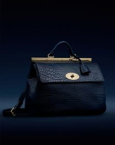 Mulberry Blue Shrunken Calf Suffolk Bag