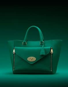 Mulberry Emerald Silky Classic Calf Willow Tote Small Bag