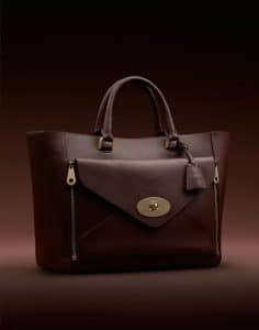 Mulberry Oxblood Silky Classic Calf With Soft Gold Willow Tote
