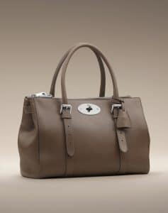 Mulberry Taupe Shiny Goat Bayswater Double Zip Tote