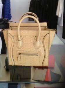 Celine Beige Python Nano Luggage Bag