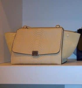 Celine Beige Python Trapeze Bag
