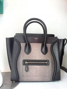 Celine Black Lizard Mini Luggage Bag