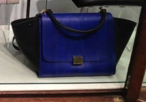 Celine Blue/Black Python Trapeze Bag