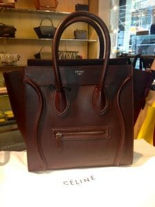 Celine Burgundy Smooth Calfskin Mini Luggage Bag