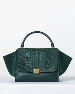 Celine Emerald Crocodile Trapeze Bag