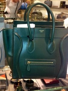 Celine Emerald Green Palmelato Leather Mini Luggage Bag