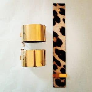 Celine Gold Cuff / Leopard Print Bracelet