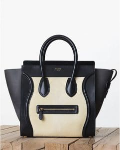 Celine Light Yellow/Black Pony Calfskin Mini Luggage Bag