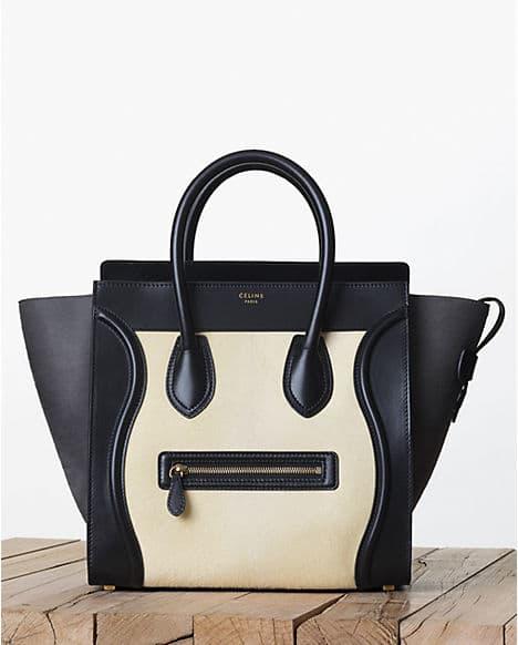 Celine Light Yellow Black Pony Calfskin Mini Luge Bag