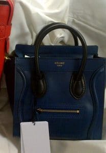 Celine Ocean Blue with Black Handles Nano Luggage Bag