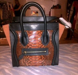 Celine Orange Python Nano Luggage Bag