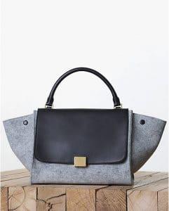 Celine Pearl Grey Felt Trapeze Bag