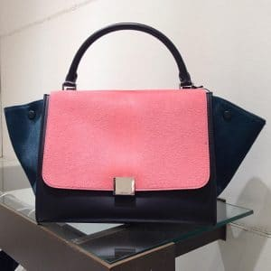 Celine Pink Tricolor Pony Hair Trapeze Bag