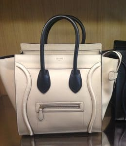 Celine Powder With Black Handles Mini Luggage Bag