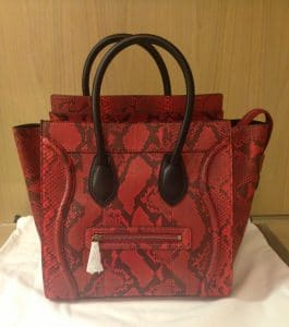 Celine Red Python Mini Luggage Bag