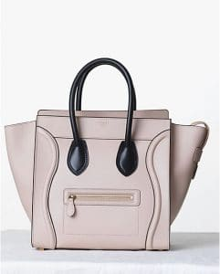 Celine Satin Powder with Black Handles Mini Luggage Bag