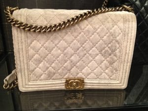Chanel Beige Suede Boy Quilted Large Bag