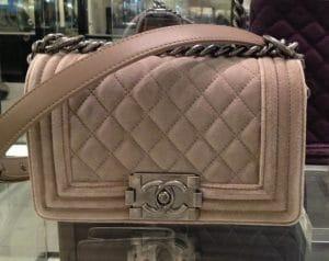 Chanel Beige Velvet Small Boy Bag