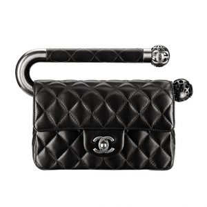 Chanel Black Mini Flap Bag with Metal Handle - Fall 2013