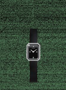 Chanel Black Rubber Steel Diamonds Premiere Watch 15mm