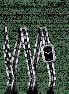 Chanel Black Triple Row Ceramic Steel Diamonds Premiere Watch 15.2mm