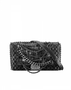 Chanel Black with Tweed Boy Enchained Flap Bag