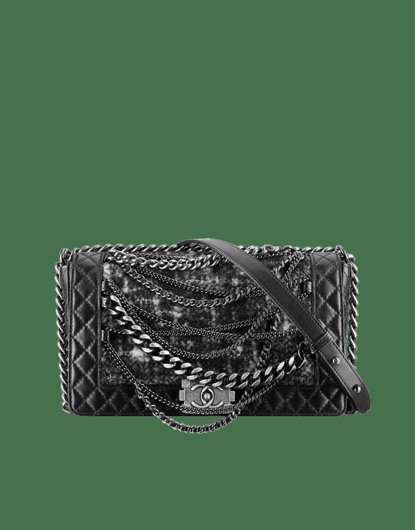 7eafdf6faa89 Chanel Black with Tweed Boy Enchained Flap Bag. $5,100.00 (USD)