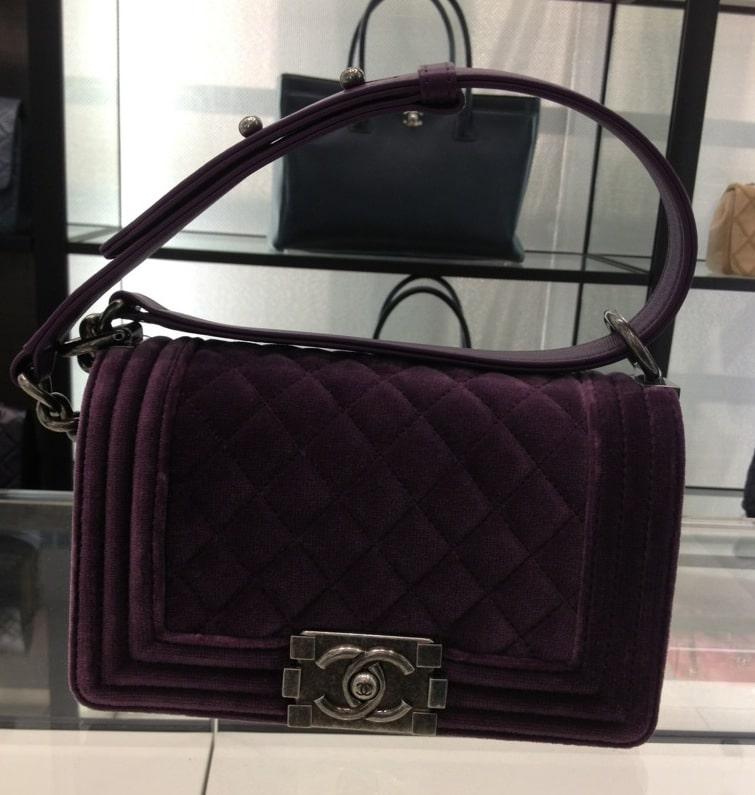 96447738415b6c ... Chanel Purple Velvet Boy Small Bag ...