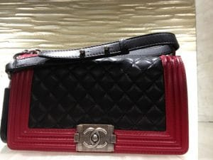 Chanel Red/Black Boy Quilted Medium Bag