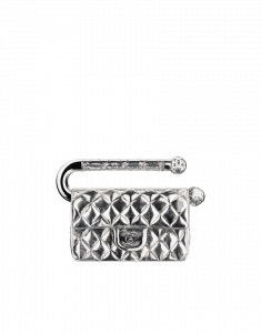 Chanel Silver Mini Flap Bag with Metal Handle