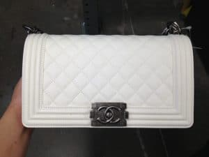 d6bfee0ea207 ... Chanel White Boy Quilted Medium Bag ...