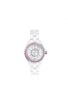 Chanel White J12 Pink Sapphires Watch 29mm